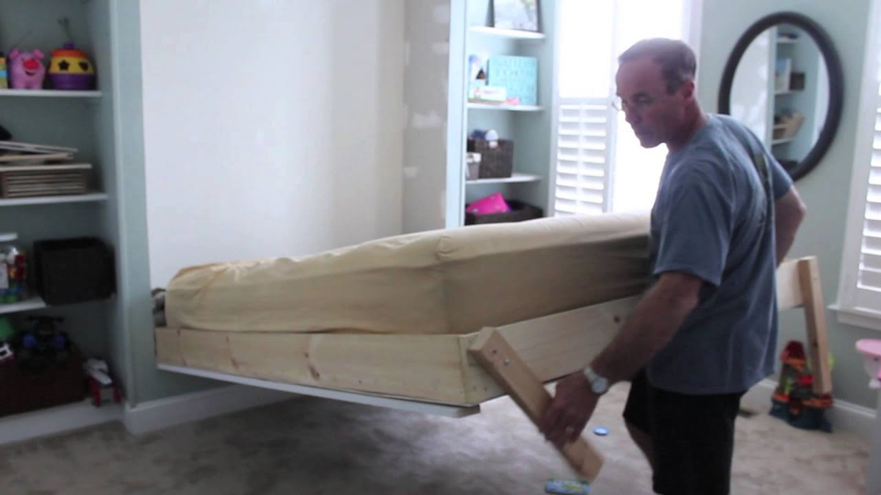 Diy wall bed for under 150 youtube - Wall mounted pull down beds ...