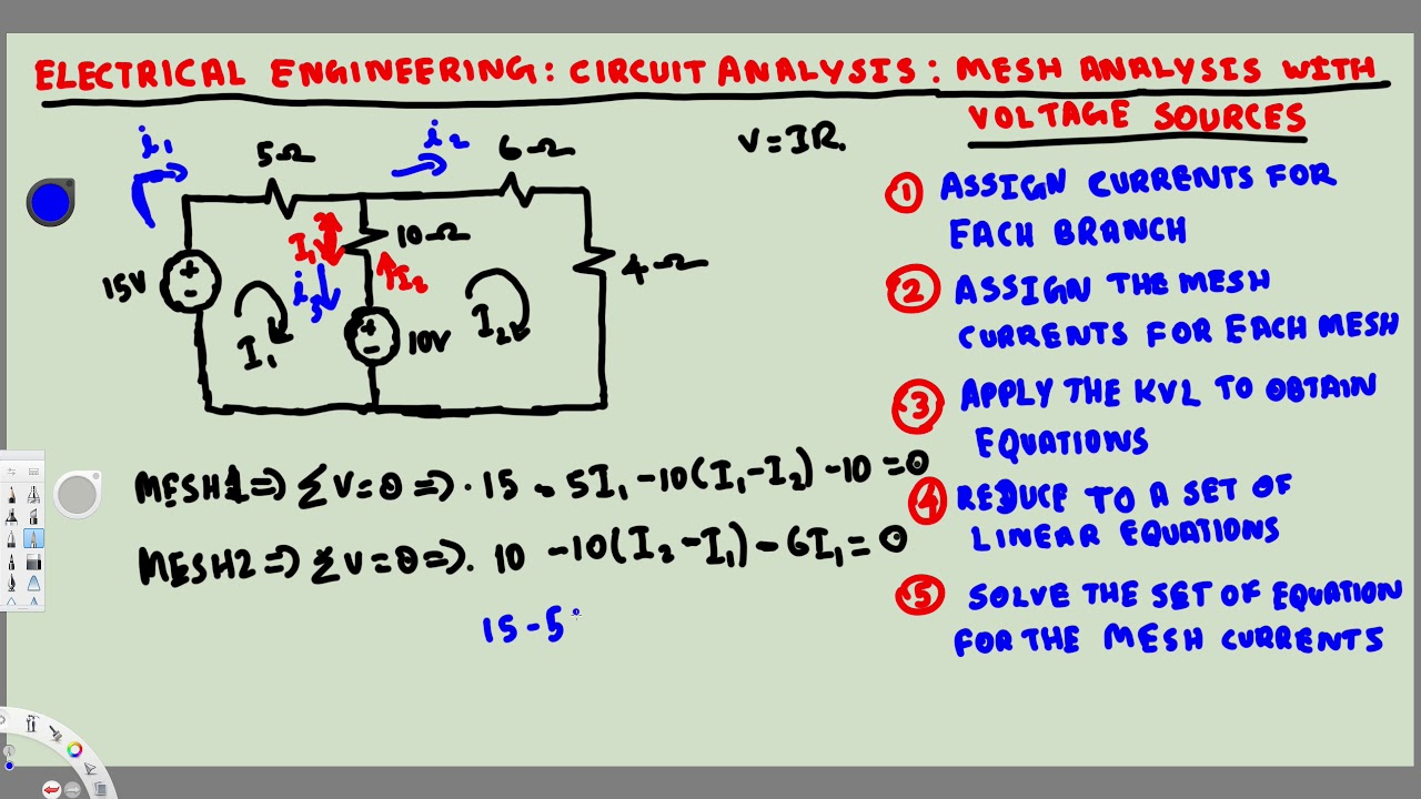 Electrical Engineering Circuit Analysis Mesh W Diagram Voltage Source Sources 1