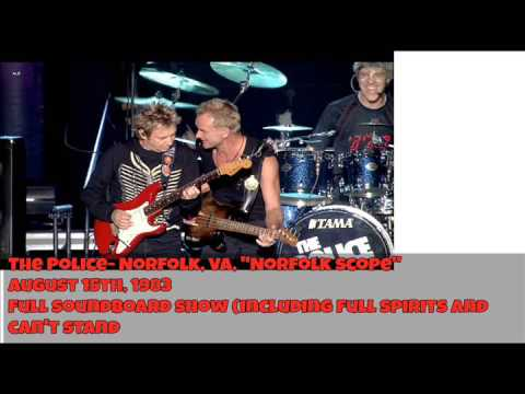 """The Police- Norfolk, 08-15-1983, """"Norfolk Scope"""" FULL SNDBD Show (INCLUDING CANT STAND)"""