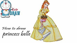 How to draw princess belle step by step
