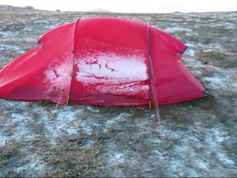 & Hilleberg Tents in strong wind and snow Swedish mountains - YouTube