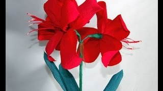 How To Make Paper Crepe Amaryllis Diy Цветы из бумаги