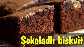 🔵 Şokoladlı biskvit hazırlanması   Sade ve dadli sokoladli biskvit   sokoladli qlazur ile  