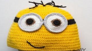 Шапка Миньон - вязаная шапка ручной работы в виде миньона