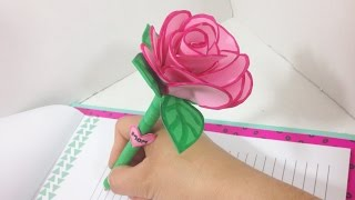Manualidad para el Dia de La Madre /Diy Lapicero decorado de flores con goma eva