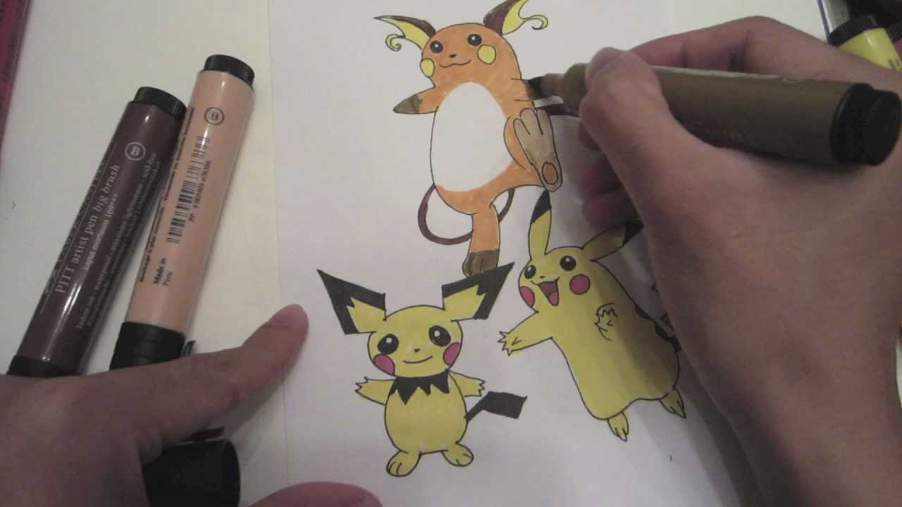 How to draw pokemon no 172 pichu no 25 pikachu no 26 raichu youtube