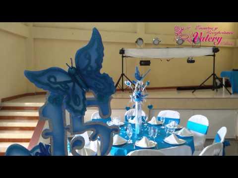 Fiesta 15 Aos Decoracin Mariposas Azules  YouTube