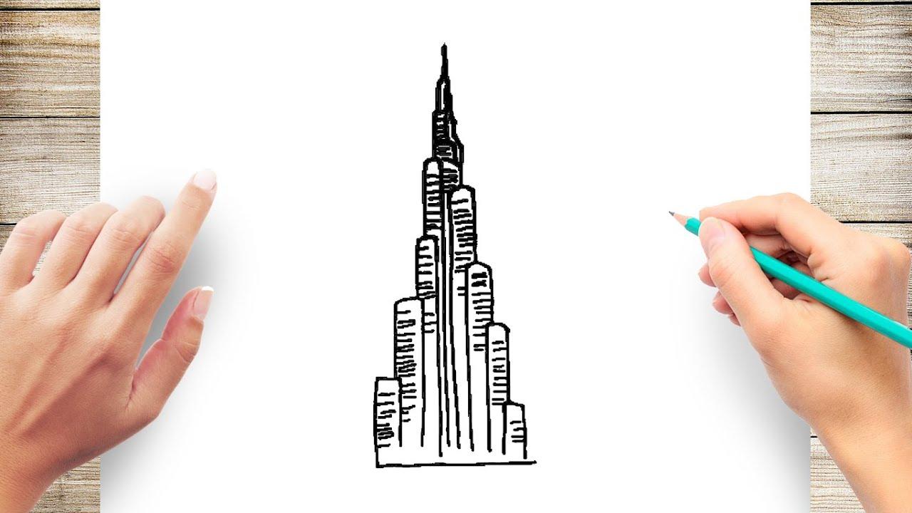 How To Draw Burj Khalifa Step By Step Youtube