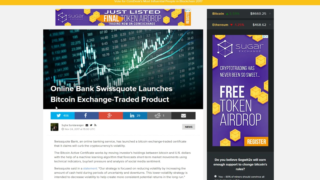 Online Bank Swissquote Launches Bitcoin Exchange Traded Product