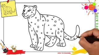 How to draw a leopard EASY & SLOWLY step by step for kids and beginners