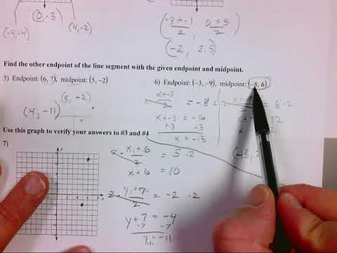 Geometry unit 1 midpoint and distance review (1-7)