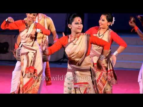 Assamese women present signature Bihu dance