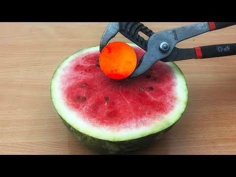 EXPERIMENT Glowing 1000 degree METAL BALL vs Watermelon!