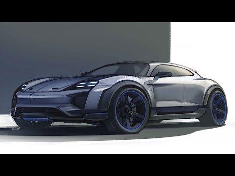 Michael Mauer presents the design of the Porsche Mission E Cross Turismo Concept