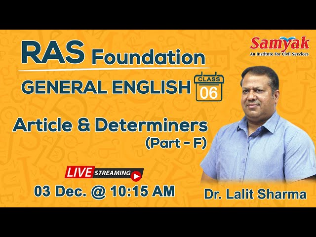 General English   Articles & Determiners - Part F   Live Class   RAS 2020/21   Dr. Lalit Sharma