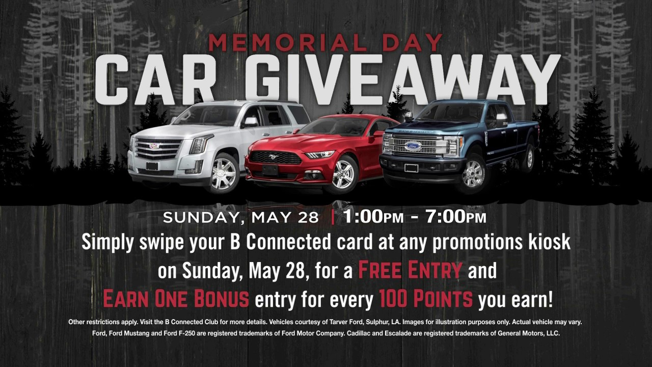 Car Giveaway 2017 >> Memorial Day Car Giveaway May 2017