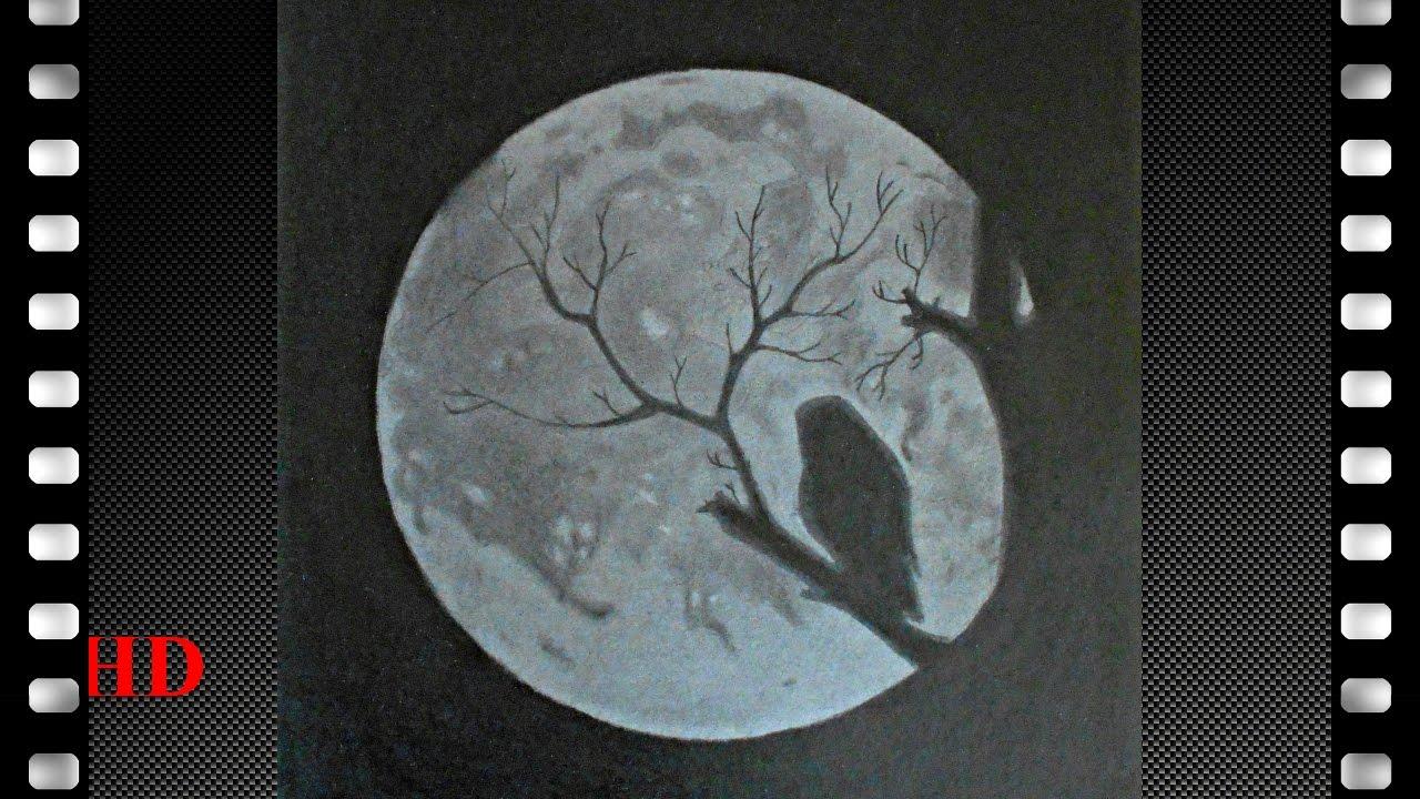 comment dessiner la lune plus une chouette en contre jour