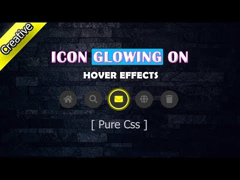Glowing Icon Bar On Hover Effects | Pure CSS3 And HTML. Glow Effect.