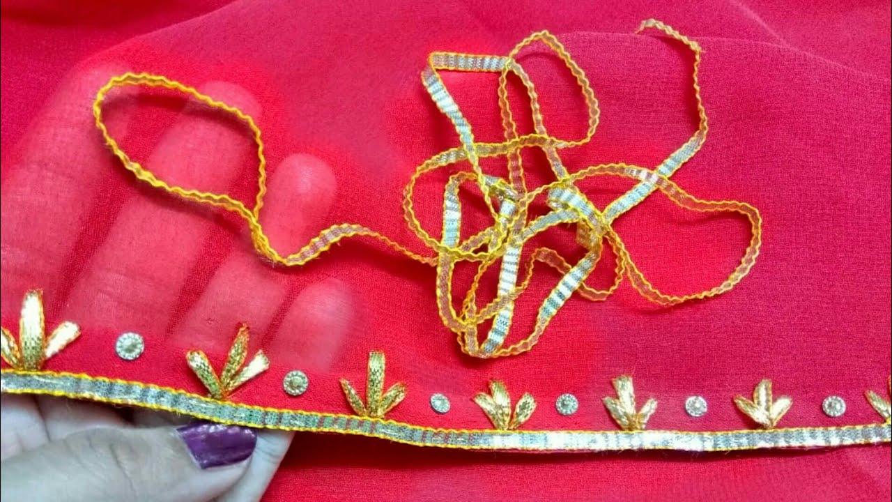 Gota embroidery   gota patti work   gota saree border work   gota work