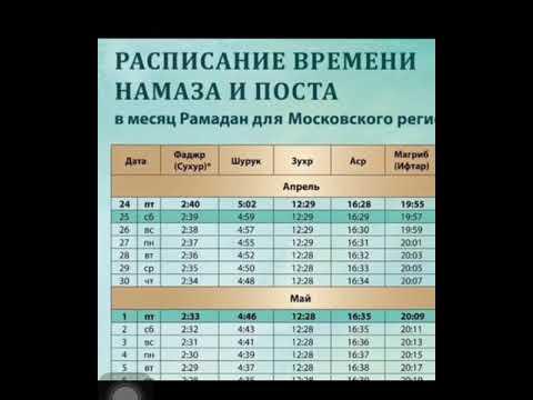 Календарь месяца РАМАДАНА г.МОСКВА 24.04.2020