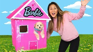 DIY BARBIE BOX FORT!!
