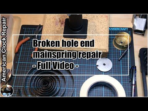 Broken Hole End Mainspring Repair - Full Video #americanclockrepairs #ScottiesClockWorld