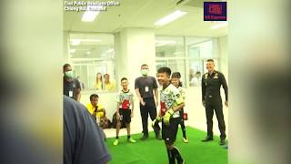 Thai Navy SEALs play soccer with rescued boys
