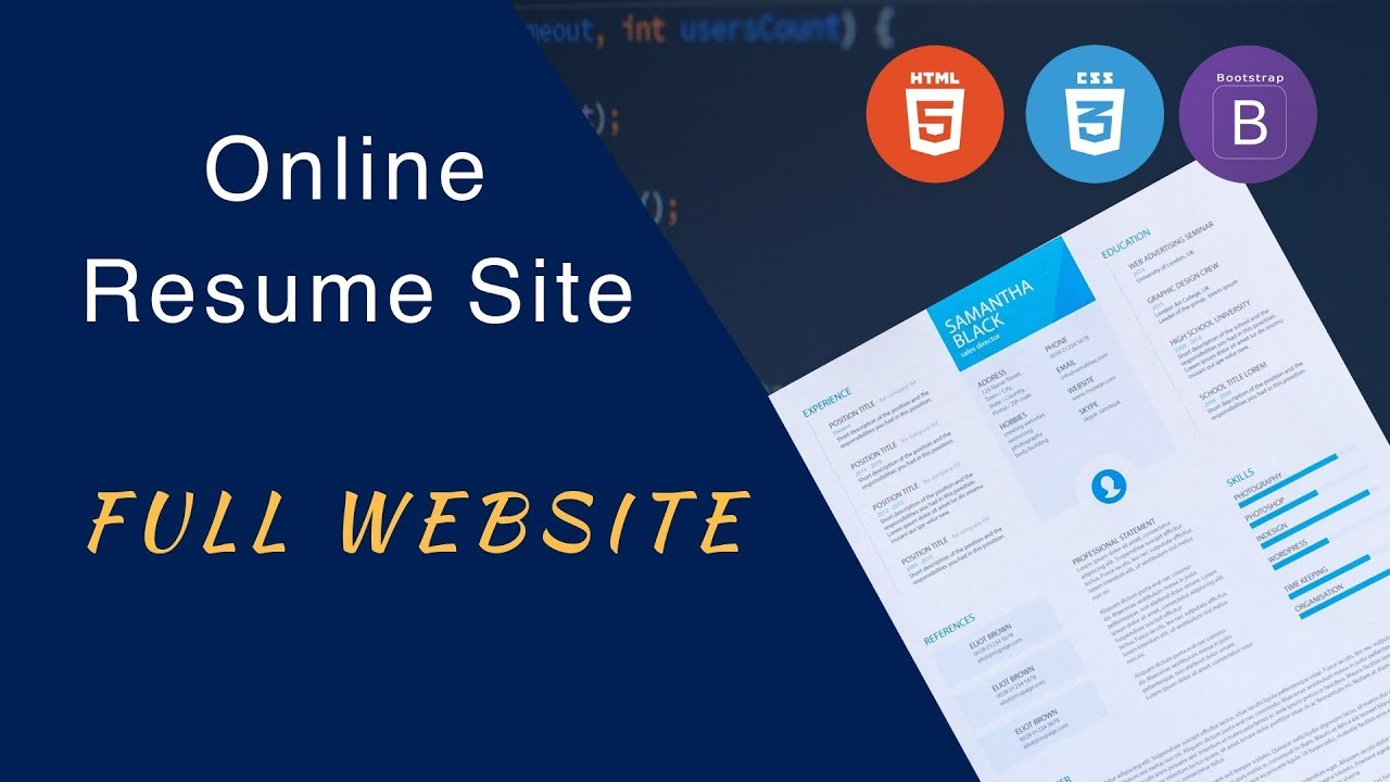 How To Make A Website Using HTML And CSS Step By Step Complete Website Resume CV Design