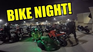 Bike Night + Wheelies, Burnouts, & Cops