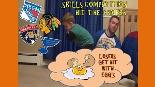 KNEE HOCKEY SKILLS COMP - LOSERS GET AN EGG SMASHED ON THEIR HEAD!!
