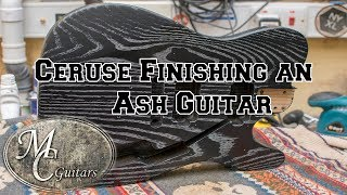 Ceruse finish on an Ash guitar body blank