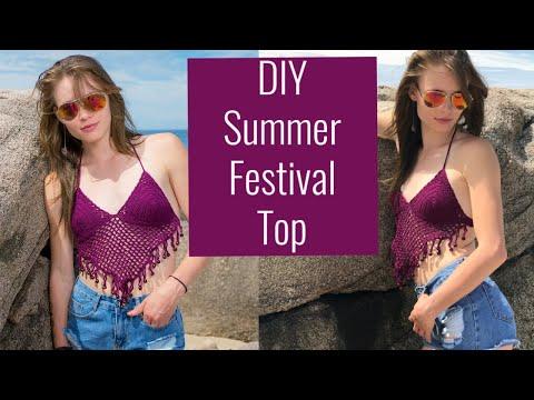 Summer Festival Beaded Crochet Bikini Top Free Pattern - How To Crochet A Bikini