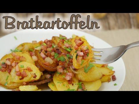 Knusprige Bratkartoffeln aus gekochten Kartoffeln mit Speck & Zwiebeln