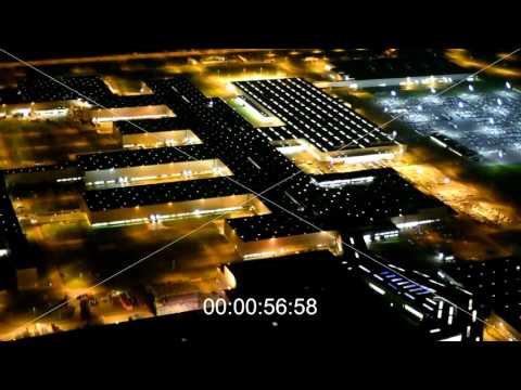 Nachtluftbild- Video vom Gelände der Bayerische Motoren Werke BMW AG in Leipzig
