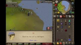 Dance on the fishing platform. Equip barrow gloves, an amulet of glory and a dragon med helm.