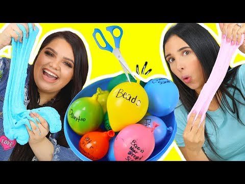 Thumbnail: SLIME BALLOON CHALLENGE! Making Slime With Balloons FT MARIALE !