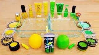 Lemon vs Lime - Mixing Makeup Eyeshadow Into Slime! Special Series 123 Satisfying Slime Video