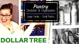 Small Pantry Declutter & Organization on a Budget - Dollar Tree - Large Family