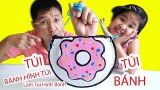 Bé Bún Tự Làm Cái Túi Hình Bánh Donuts Có Khóa bằng Đĩa Tròn | DIY Donuts Bag Paper Crafts