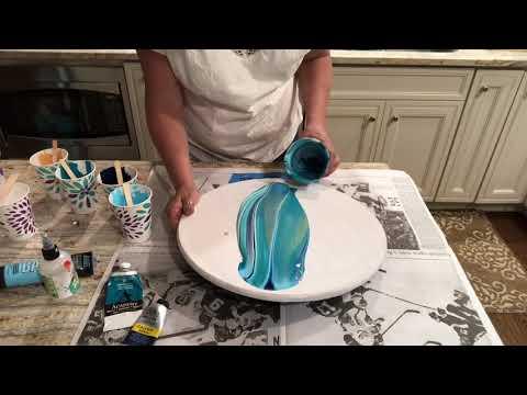 Video #8 Fluid Acrylic Painting on a lazy Susan.