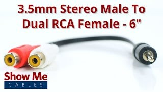 3.5mm Stereo Male To Dual RCA Female Adapter