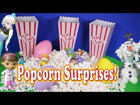 SURPRISE EGG Popcorn Surprise Egg Elsa Frozen Disney Toys Video