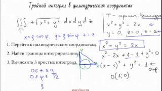 Пример решения тройного интеграла в цилиндрических координатах - bezbotvy