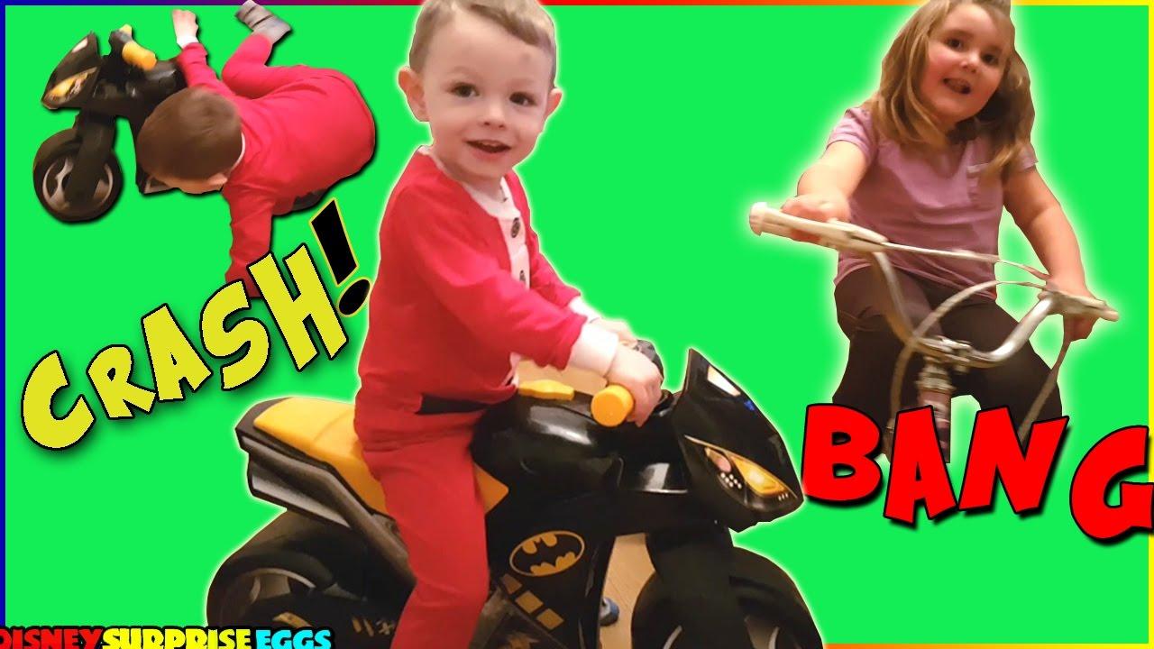 Baby Jakes Playtime with BATMAN BIKE Pretend Motorcycle Crash ...