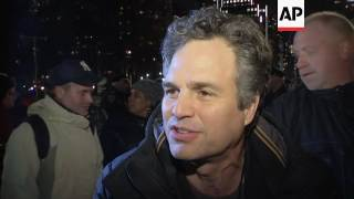 Entertainment stars join thousands in NYC to for anti-Trump rally on eve of inauguration
