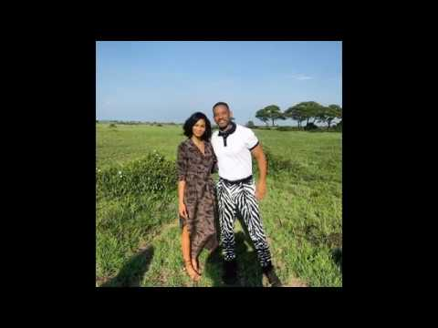 Actor Will Smith and Model Chanel Iman in Serengeti, Tanzania Africa