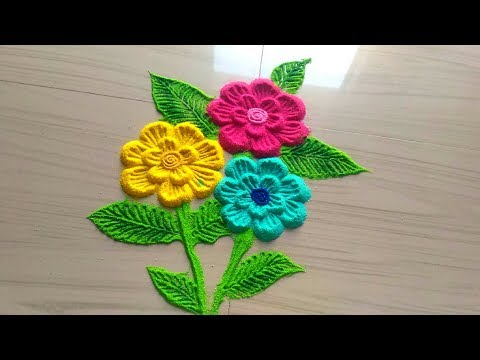 How to make rangoli designs of beautiful flowers with color/ daily rangoli by jyoti Rathod
