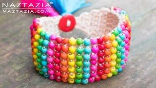 Crochet Boho Bead Bracelet - Bohemian Be...