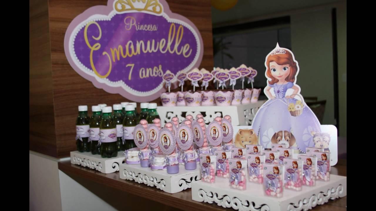 Como Decorar festa Aniversário Princesa Sofia YouTube -> Decoração De Aniversário Princesa Sofia
