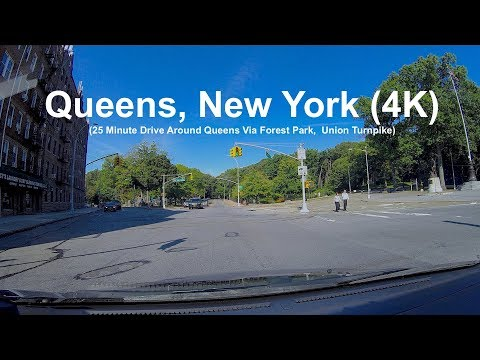 New York Scenes:  A Sunny Morning Drive Around Queens, New York (4K)